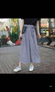 黑白英倫格仔薄款悠閒九分裙褲
