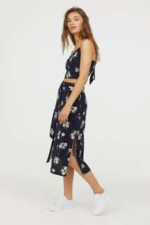 Authentic Forever 21 High-waisted Calf-length viscose SKIRT terno with back-tie cropped TOP