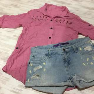 BLOUSE WITH CRISS CROSS DETAIL