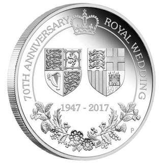 英國皇家70周年白金婚2017精鑄銀幣 1oz.  2017 1 oz 70th Anniversary of the Royal Wedding .9999 Silver Proof Coin