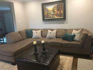 Mint condition brown sectional couch