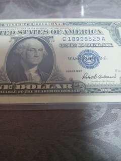 1957年藍印舊美元1蚊