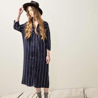 🚚 Pazzo條紋長版襯衫洋裝