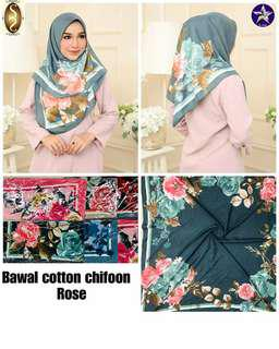 Bawak cotton chiffon rose