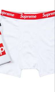 Supreme X Hanes white reshrunk cotton boxer brief package of 4