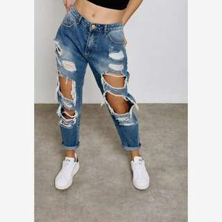 Forever 21 Ripped Boyfriend Jeans
