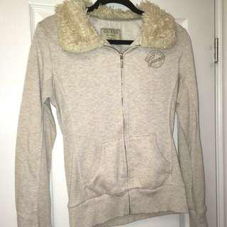Guess Beige Faux Fur Collar Sweater