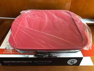 全新 Master chef 方形碟連塑膠蓋焗盤