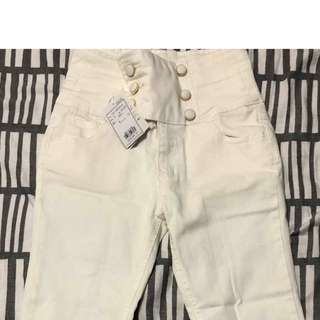 White High Waisted Button-Up Skinny Jeans