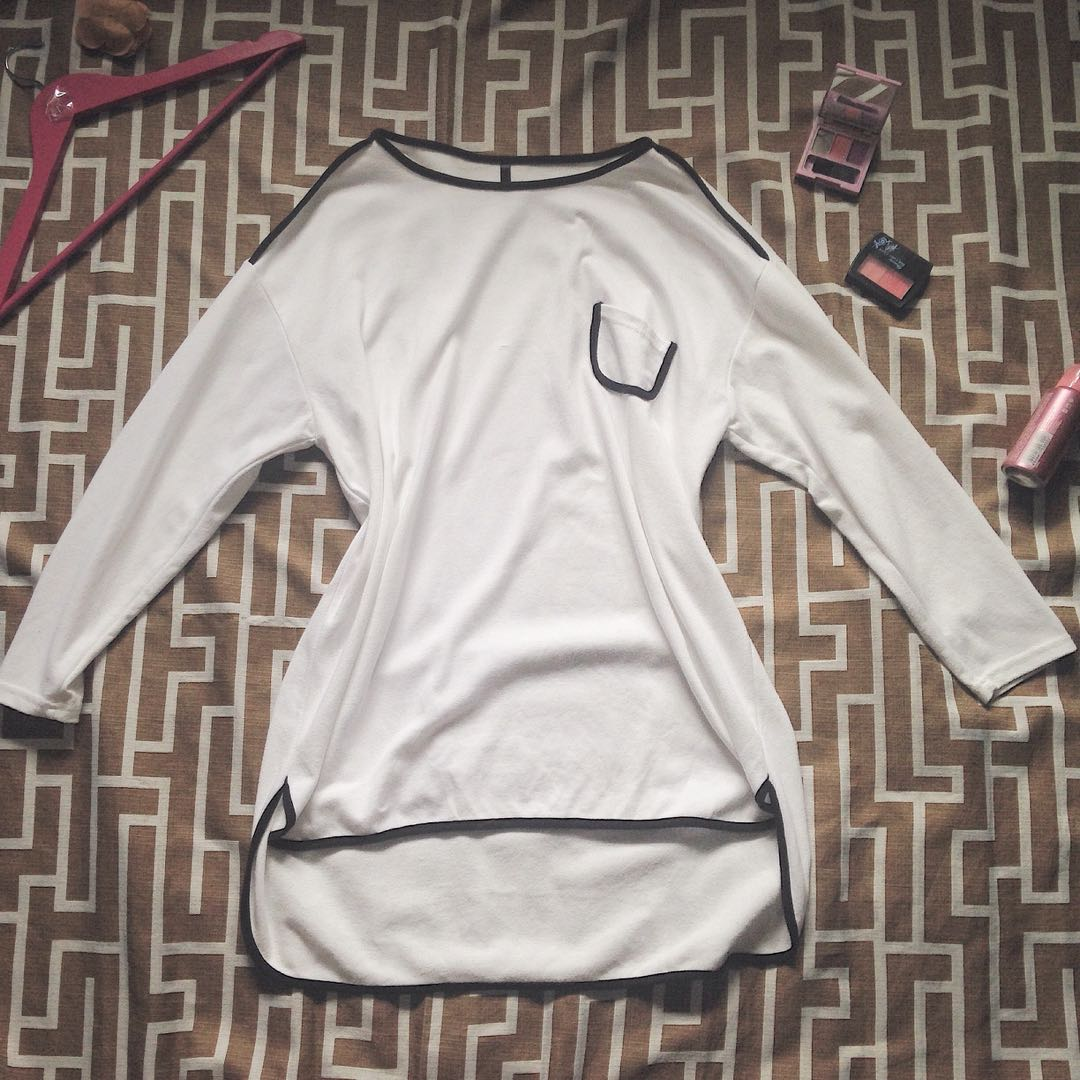 Black Lined White Dress Preloved Womens Fashion Clothes On Carousell
