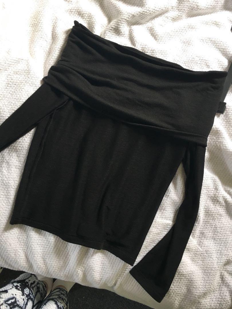 Black off shoulder soft top