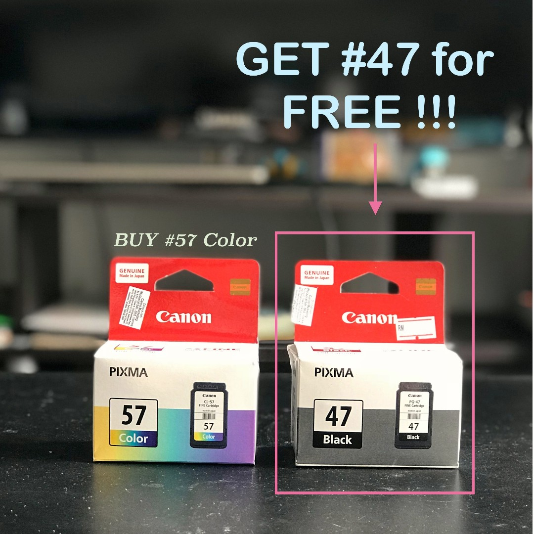 Canon Pixma Ink Cartridge 57 Color Free 47 Black Cl Original Electronics Others On Carousell