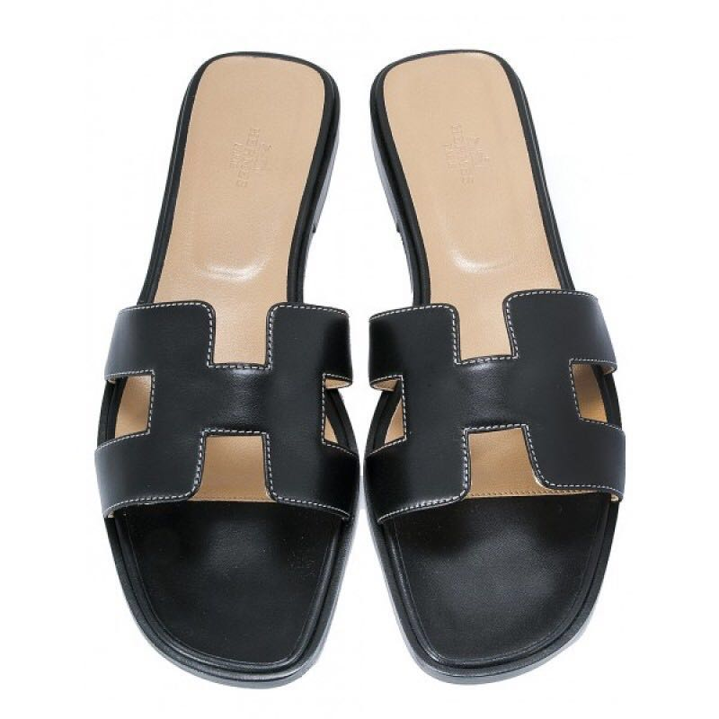 42709cc17749 Hermes Black Oran sandals (authentic)