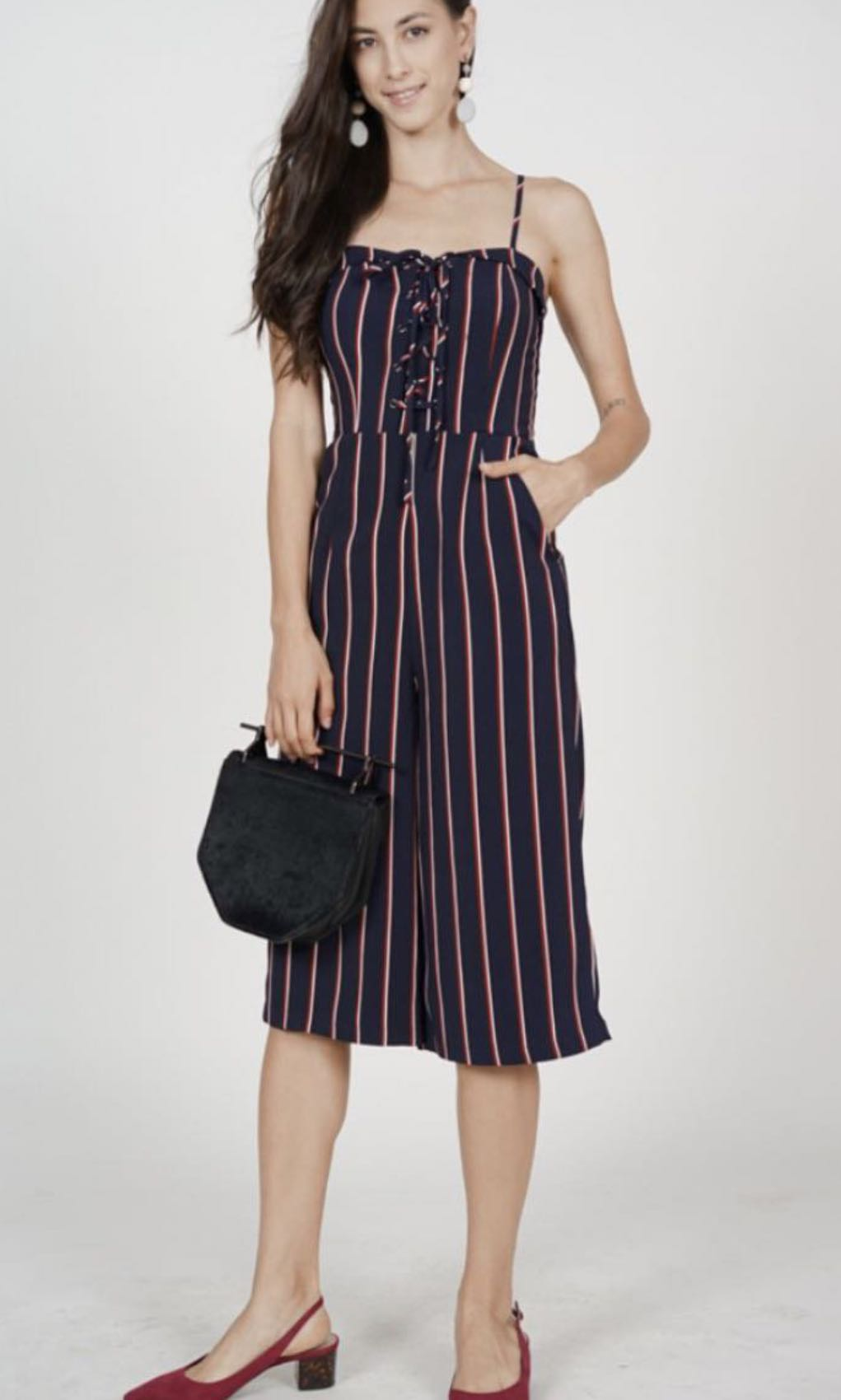 4a631451a5c9 MDS Flap-over lace-up jumpsuit in navy stripe