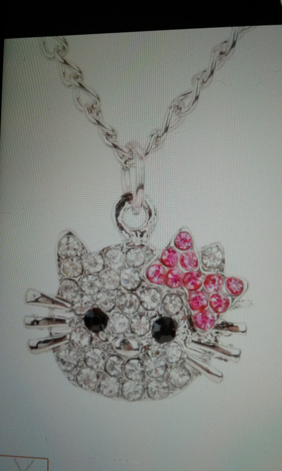 481a6af068132 New Fashion Crystal Cat Rhinestone Hello Kitty Necklace Bowknot KT Jewelry