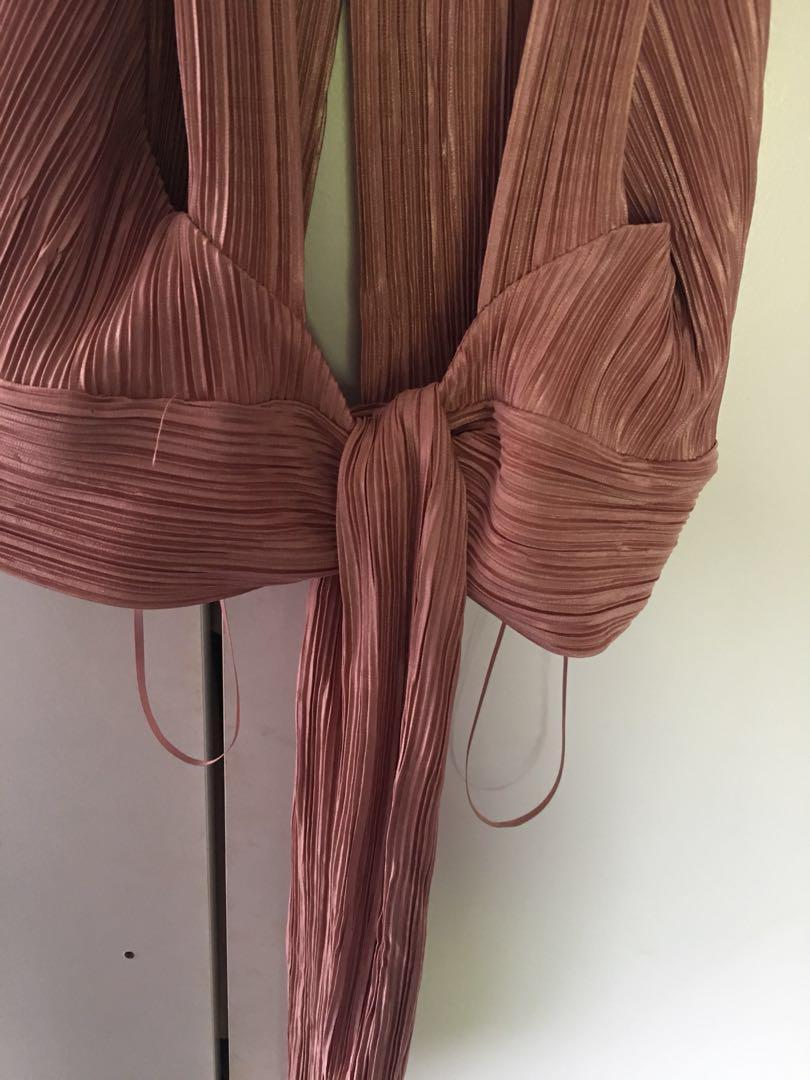 Pink tie open back crop top