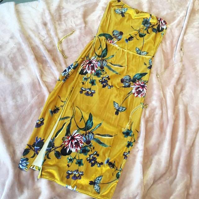 PLT Velvet Slit Dress