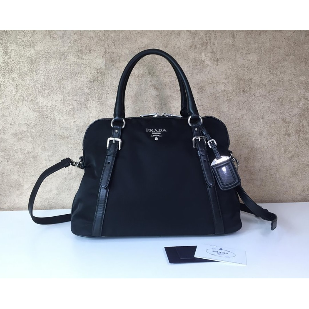 655ac48661 PRADA BL0912 TESSUTO NYLON CONVERTIBLE DOME TOTE BAG