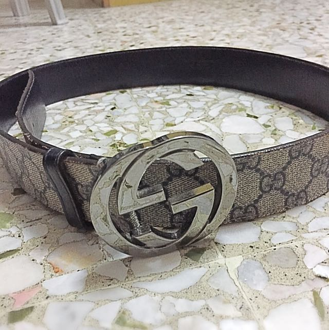 d2ebca4b8 Pre-loved Authentic Men Gucci Bucket Leather Belt, Men's Fashion ...