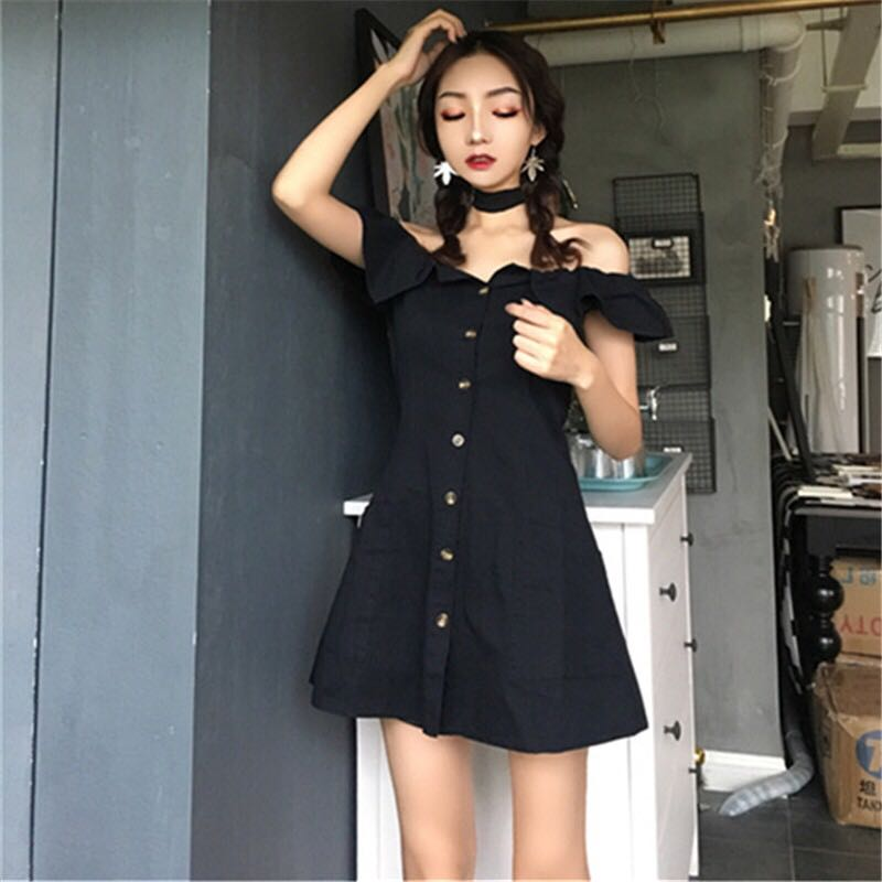 Retro style off shoulder button down dress, Women's Fashion