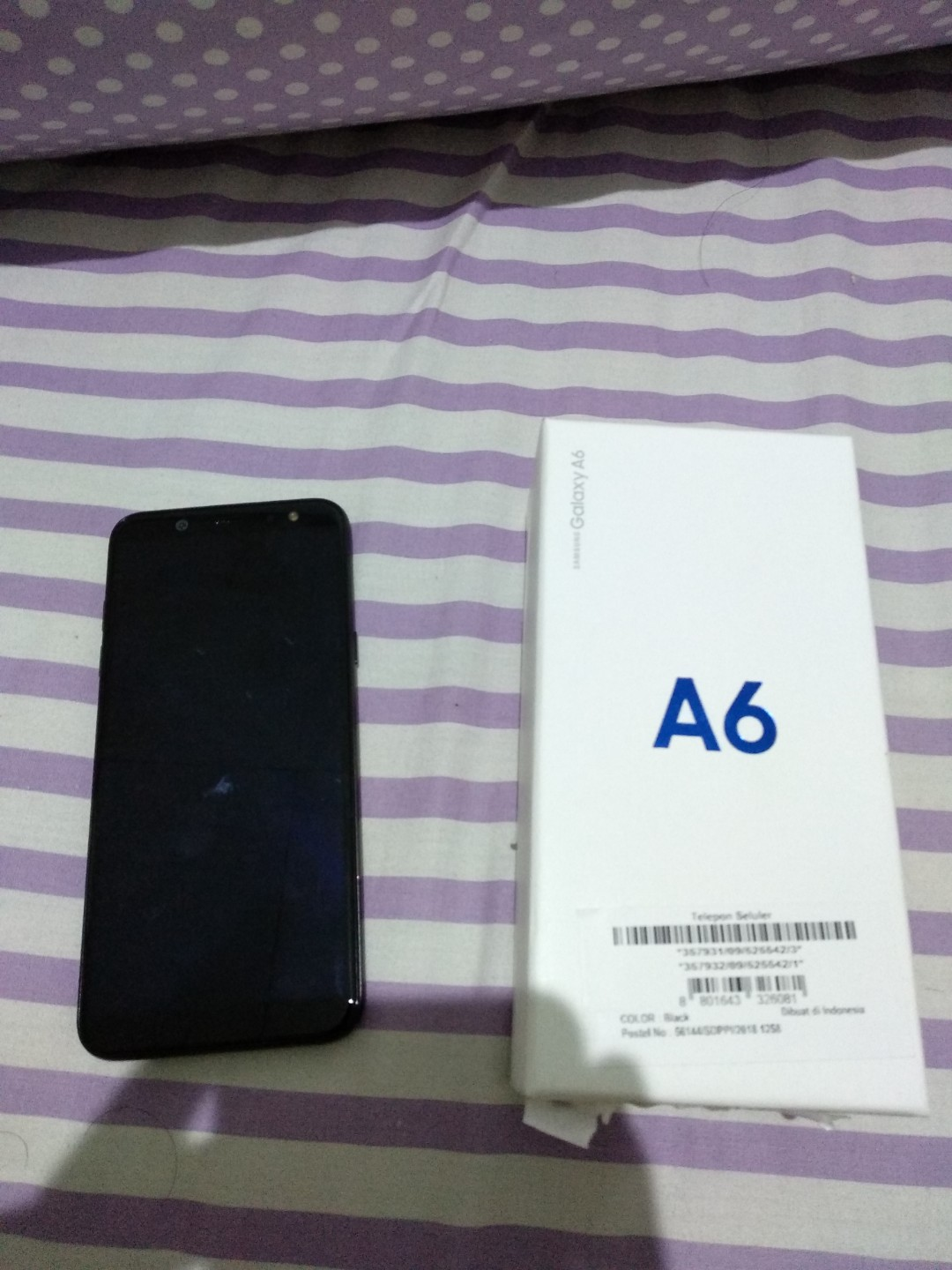 Samsung Galaxy A6 2018 Full Box Charger Headset Ori Mobile Cas Hp Samung Phones Tablets On Carousell