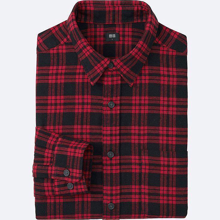 43e876eb Uniqlo Flannel Shirt - Red & Black Checkered, Men's Fashion, Clothes ...