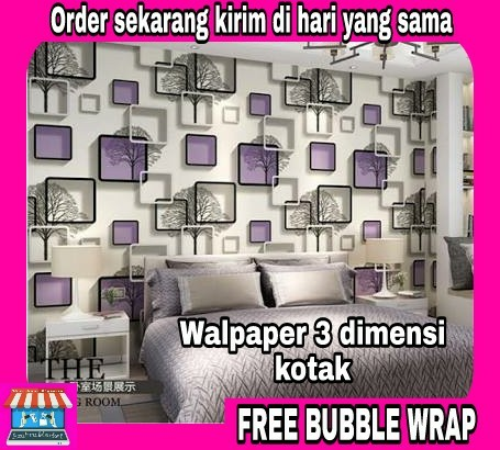 wallpaper sticker dinding 3d kotak ungu dan batu alam, home