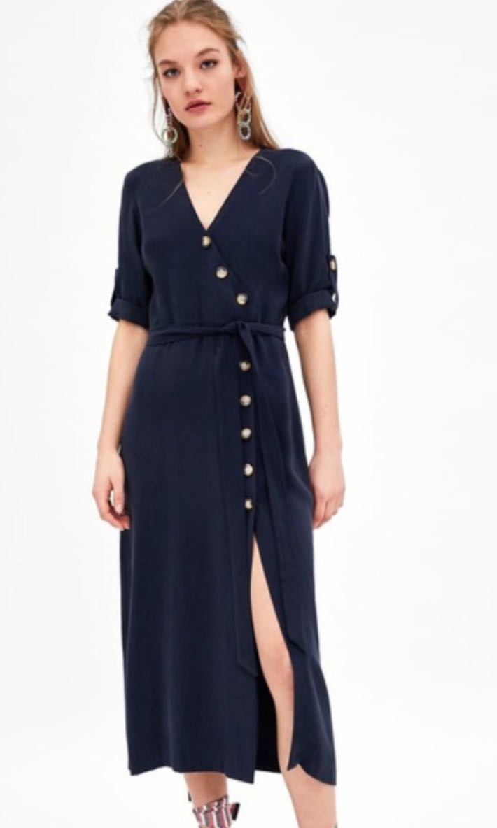 07713f296cd Zara inspired navy midi dress with buttons