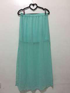 Mint Green Long skirt with slit