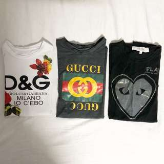 Designer inspired shirts | Gucci , Dolce and Gabbana , Commes de Garcons Play