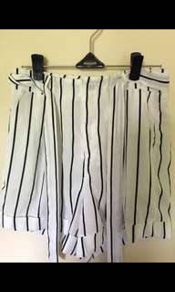 High waisted belted striped shorts small/8