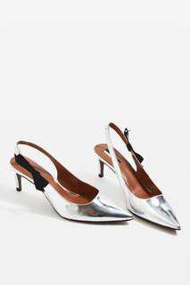 Silver kitten heels
