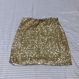 Gold sequined skirt