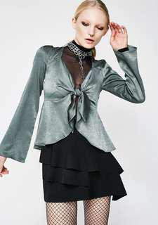 Silk green tie front blouse