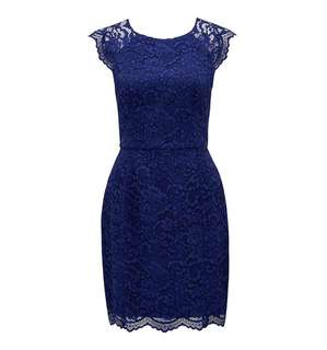 Forever New Navy Nikki Lace Bodycon Dress - Size 8