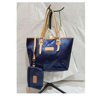 Genuine Longchamp Derby Verni Metallic Blue Synthetic Leather Shopper Bag Medium