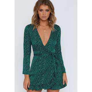 Step Up Long Sleeve Dress Green Polka Beginning Boutique