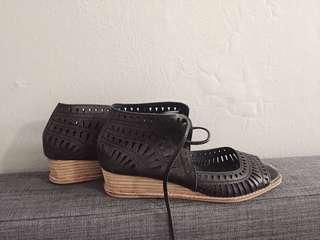 Jeffrey Campbell black wedges sandals