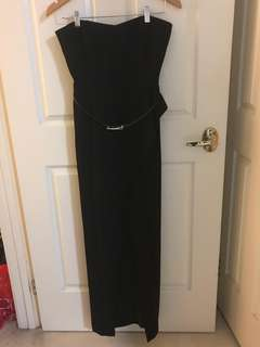 FOREVER NEW strapless maxi dress with side split