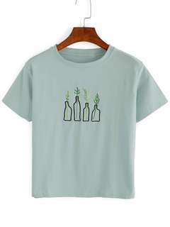 Green plant embroidery t shirt