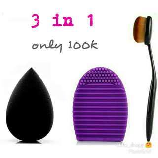 Beauty blender + brush egg + kuas oval