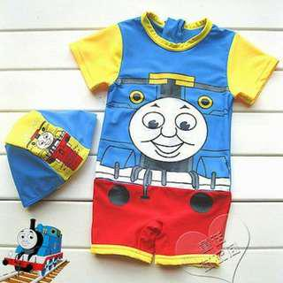 Last! New Thomas and Friends swimsuit with cap 全新火車頭湯瑪仕一件頭泳衣 連泳帽 12-18mths