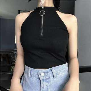 Korean Zip Ring Crop Top