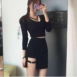 Korean Black Long Sleeve Crop Top