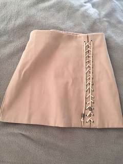 Korean pink nude skirt