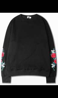Rose embroidered sleeve jumper