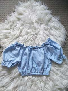 Baby blue stretchable ruffle Cami crop top dots