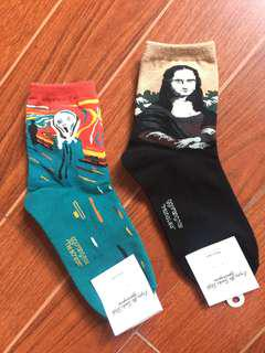 "Artsy Socks (bundle) - Van Gogh ""Scream"" and Mona Lisa art"
