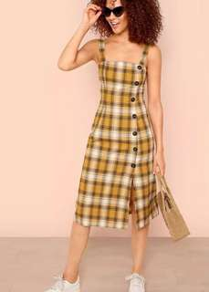 Button plaid dress (Midi)