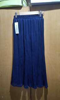 深藍色幼直條長裙
